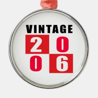 Cumpleaños 2006 del vintage adorno redondo plateado