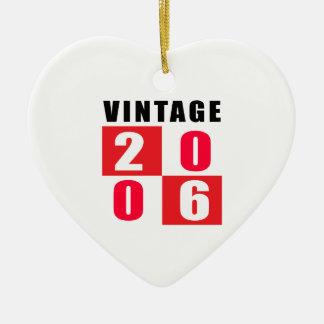 Cumpleaños 2006 del vintage adorno de cerámica en forma de corazón