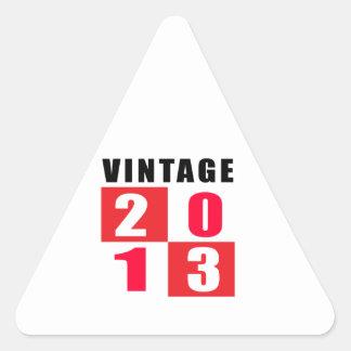 Cumpleaños 2013 del vintage calcomanías triangulos