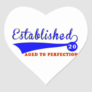 Cumpleaños 20 envejecido a la perfección pegatina de corazon personalizadas