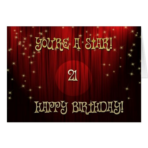 Cumpleaños 21 de la estrella tarjeta de felicitación