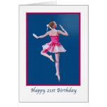 Cumpleaños, 21ro, bailarina de baile en azul tarjeta de felicitación