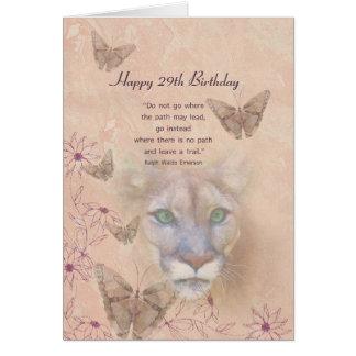 Cumpleaños, 29no, puma y mariposas tarjeta de felicitación