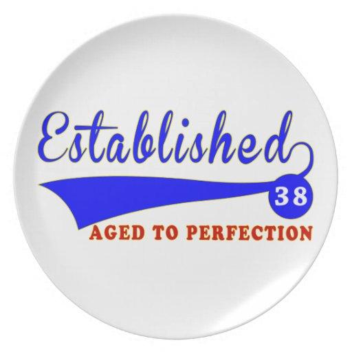 Cumpleaños 38 envejecido a la perfección platos para fiestas