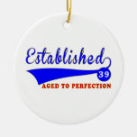 Cumpleaños 39 envejecido a la perfección ornamentos de navidad