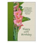 Cumpleaños, 50.o, gladiolo rosado, tarjeta