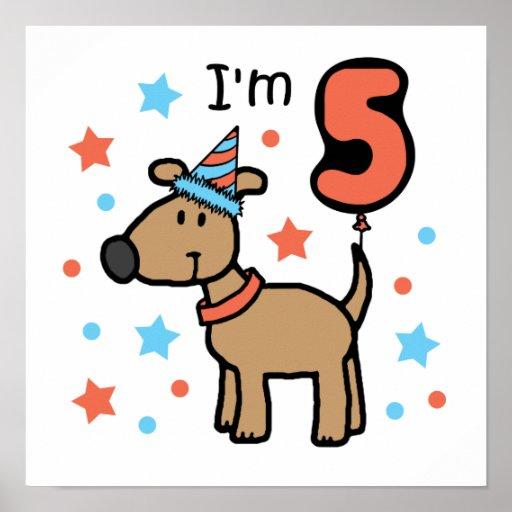 Cumpleaños 5 del perro posters