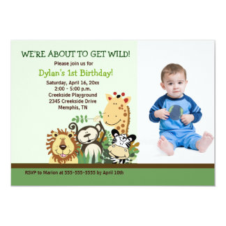 Cumpleaños 5x7 del *PHOTO* del safari de selva del Invitación 12,7 X 17,8 Cm