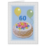 Cumpleaños, 60.o, torta y globos tarjetón