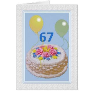 Cumpleaños, 67.o, torta y globos tarjeta de felicitación