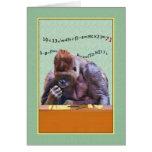 Cumpleaños, 71.o, gorila en el escritorio tarjetón