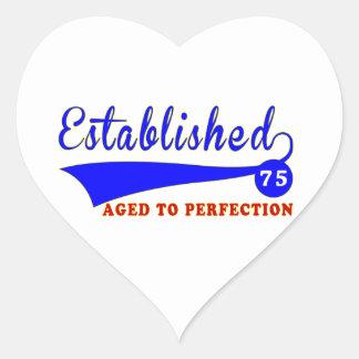 Cumpleaños 75 envejecido a la perfección calcomania corazon
