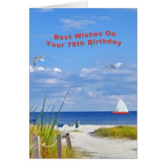 Cumpleaños, 79.o, playa y vista al mar tarjeta de felicitación