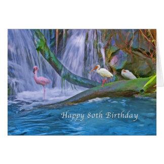 Cumpleaños, 80.o, cascada tropical, pájaros tarjeta de felicitación