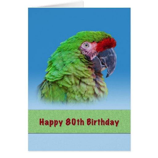 Cumpleaños, 80.o, loro verde tarjeton