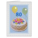 Cumpleaños, 80.o, torta y globos tarjeta