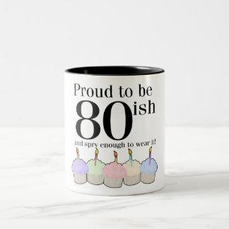 cumpleaños 80ish taza dos tonos