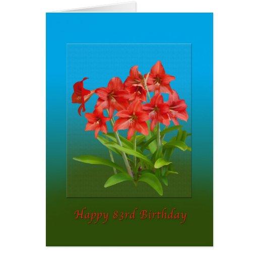 Cumpleaños, 83.o, lirios de día rojos tarjeta de felicitación