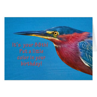 Cumpleaños, 88.o, pájaro verde de la garza tarjeta de felicitación