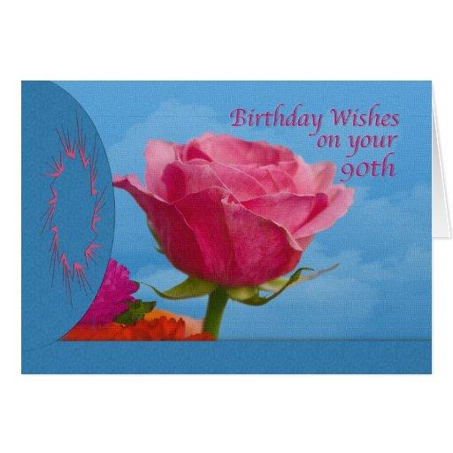 Cumpleaños, 90.o, color de rosa rosado en azul tarjetas