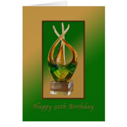 Cumpleaños, 90.o, escultura de cristal tarjeta de felicitación