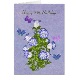 Cumpleaños, 90.o, mariposas y flores de Bell Tarjeta De Felicitación