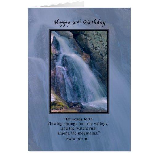 Cumpleaños, 90.o, religioso, cascada de la montaña tarjeta de felicitación
