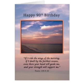 Cumpleaños, 90.o, salida del sol en la playa, tarjeta de felicitación