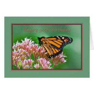 Cumpleaños, 90.o, tarjeta de la mariposa de monarc
