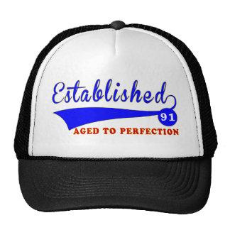 Cumpleaños 91 envejecido a la perfección gorras de camionero