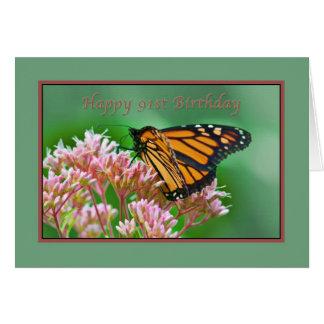 Cumpleaños, 91.o, tarjeta de la mariposa de monarc