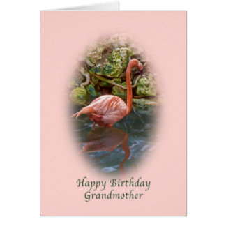 Cumpleaños, abuela, tarjeta rosada del flamenco