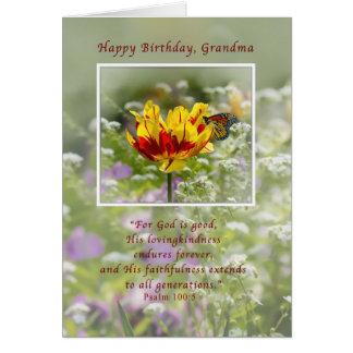 Cumpleaños, abuela, tulipán y mariposa tarjeta de felicitación