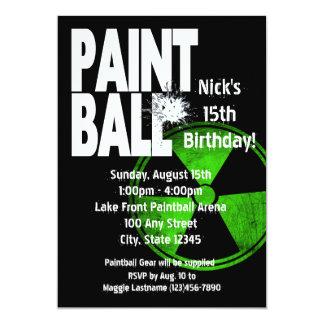 """Cumpleaños activo de radio de Paintball Invitación 5"""" X 7"""""""