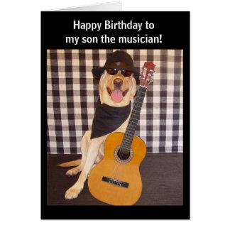 Cumpleaños adaptable del hijo del músico tarjeta de felicitación