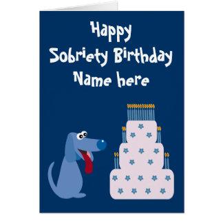 Cumpleaños adaptable lindo de la sobriedad del per felicitaciones