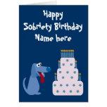 Cumpleaños adaptable lindo de la sobriedad del tarjeta de felicitación
