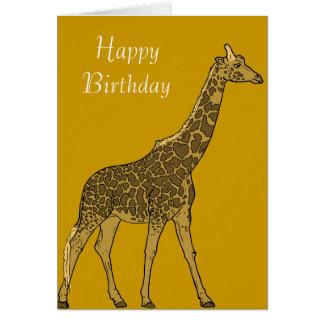 Cumpleaños adorable de la jirafa tarjeta de felicitación