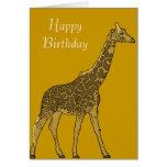 Cumpleaños adorable de la jirafa tarjetas