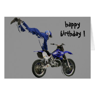 cumpleaños aéreo del motocrós tarjeton
