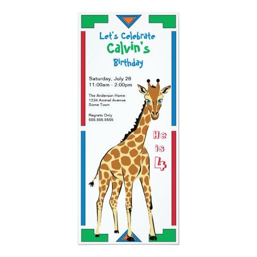 Cumpleaños africano colorido de la jirafa del invitacion personal