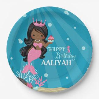 Cumpleaños afroamericano de la sirena platos de papel