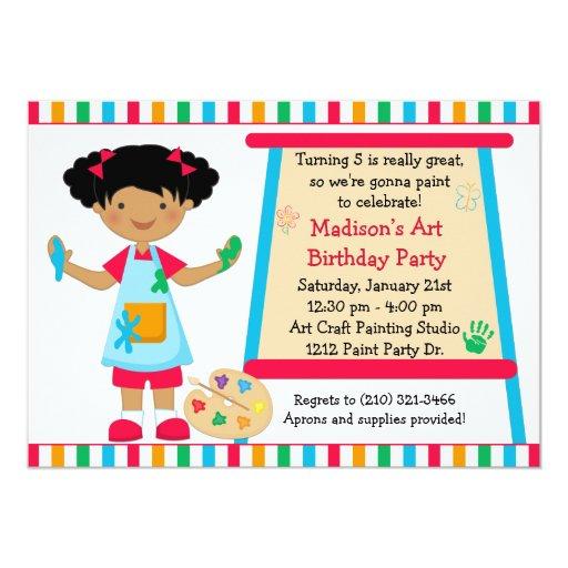 Cumpleaños afroamericano del fiesta de la pintura comunicado