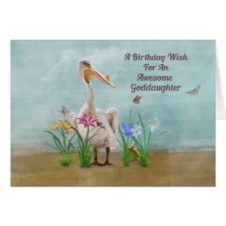 Cumpleaños, ahijada, pelícano, flores tarjeta