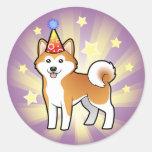 Cumpleaños Akita Inu/Shiba Inu Pegatina Redonda