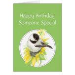 Cumpleaños alguien pájaro especial del girasol del felicitaciones