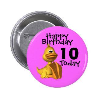 Cumpleaños amarillo 10 del pato pins