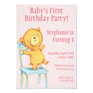 """Cumpleaños amarillo del oso invitación 5"""" x 7"""""""