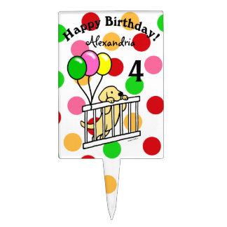 Cumpleaños amarillo personalizado del perrito de decoraciones de tartas