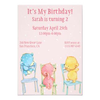 """Cumpleaños amarillo, rosado, y del azul de los invitación 5"""" x 7"""""""